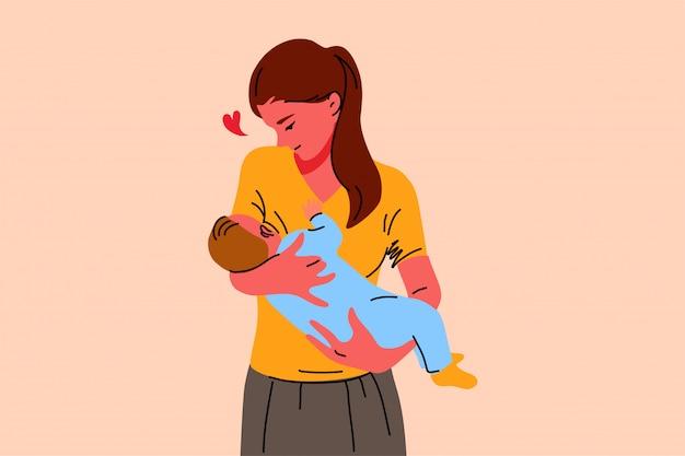 Moederschap, jeugd, borstvoeding, zorg, liefde concept Premium Vector