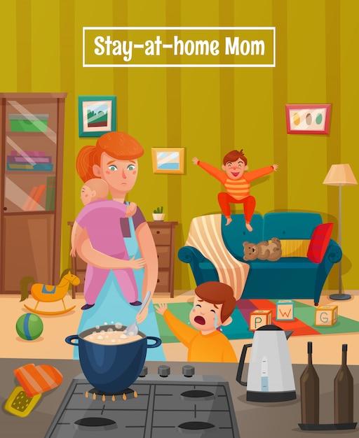 Moederschap moe moeder poster Gratis Vector