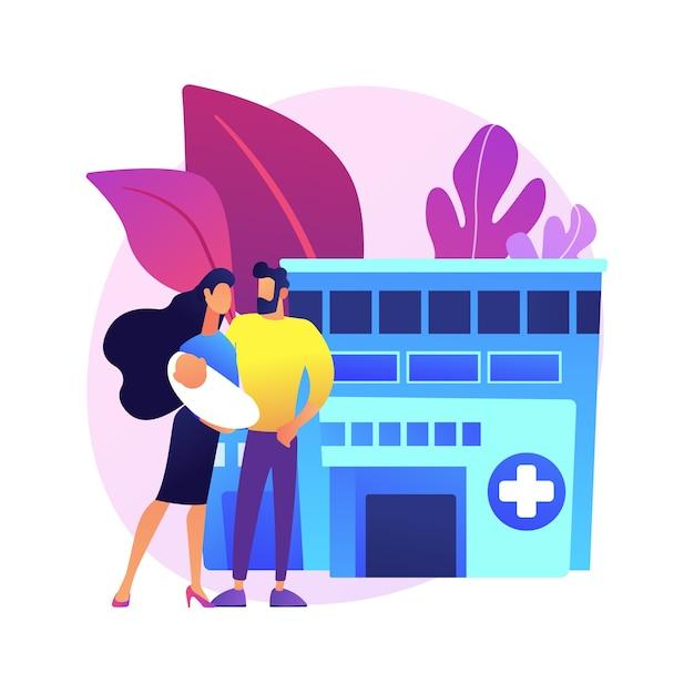 Moederschapsdiensten abstract concept illustratie. kraamzorg, perinatale zorg, zwangerschaps- en geboortegekwalificeerde ondersteuning, bevalling en kraamperiode. Gratis Vector