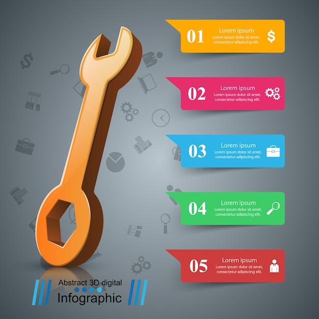 Moersleutel, schroevendraaier, reparatie pictogram zakelijke infographic Premium Vector