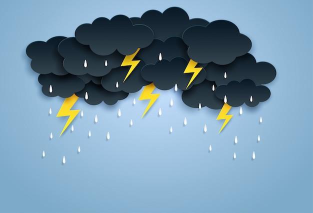Moesson, regenachtige seizoen achtergrond Premium Vector