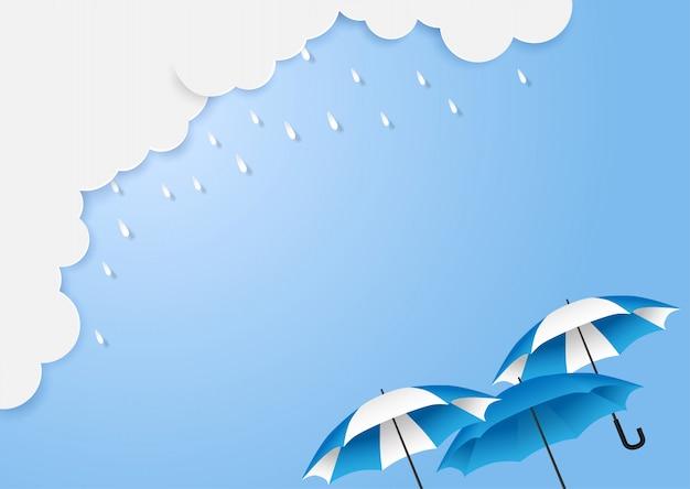Moesson, regenachtige seizoenachtergrond met copyspace. wolkenregen en paraplu op blauwe hemel. Premium Vector