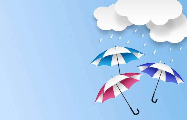 Moesson, regenseizoen verkoop achtergrond. wolkenregen en paraplu op blauwe hemel. Premium Vector