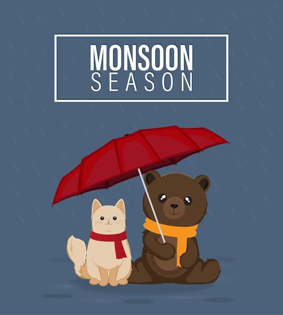 Moesson seizoen vectorillustratie, kat en beer met rode paraplu Premium Vector