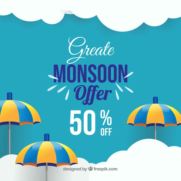 Moesson seizoen verkoop achtergrond met parasols Gratis Vector