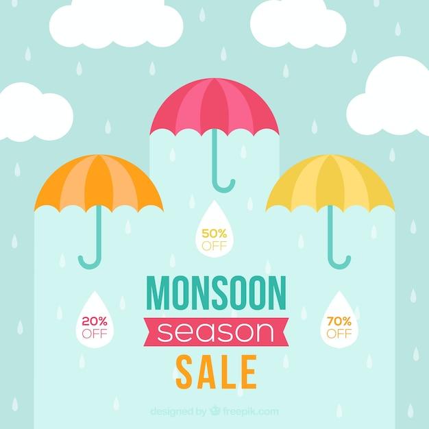 Moesson seizoen verkoop achtergrond Gratis Vector