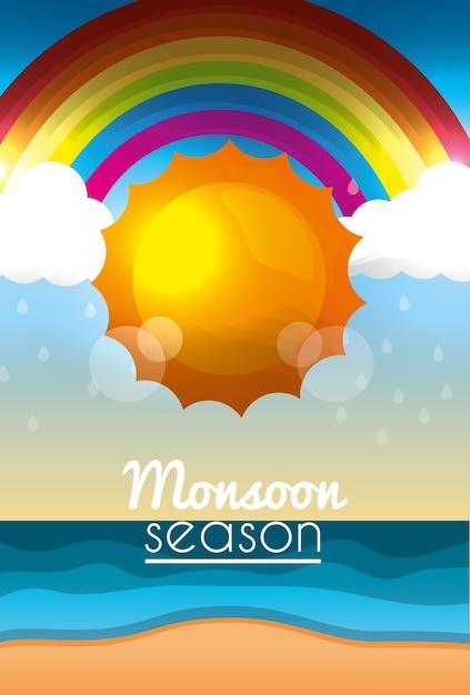 Moesson seizoen zonneschijn dag wolken regenboog strand oceaan Premium Vector
