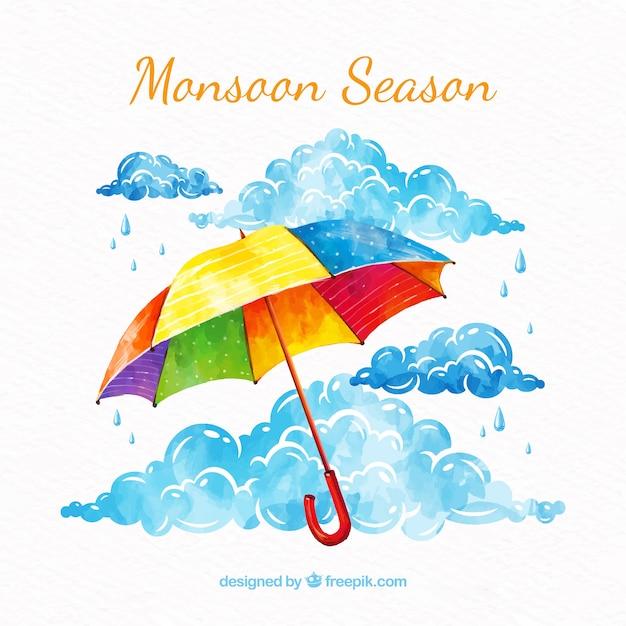 Moessonachtergrond met paraplu Gratis Vector