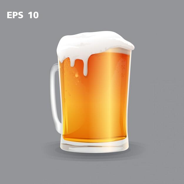 Mok bier op een grijze vector wordt geïsoleerd die als achtergrond Premium Vector