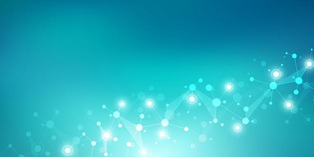 Moleculaire structuren en neuraal netwerk. moleculen dna en genetisch onderzoek. Premium Vector