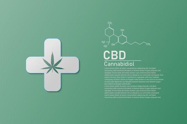 Moleculaire structuur medische chemie formule cannabis met de formule cbd, vectorillustratie Premium Vector