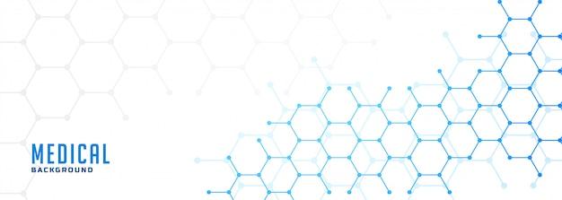 Moleculaire zeshoekige structuur gezondheidszorg en medische banner Gratis Vector