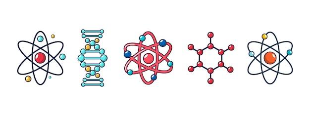 Molecuul en atoompictogram instellen. beeldverhaalreeks van molecule en geïsoleerde de pictogrammeninzameling van atoom vectoren Premium Vector