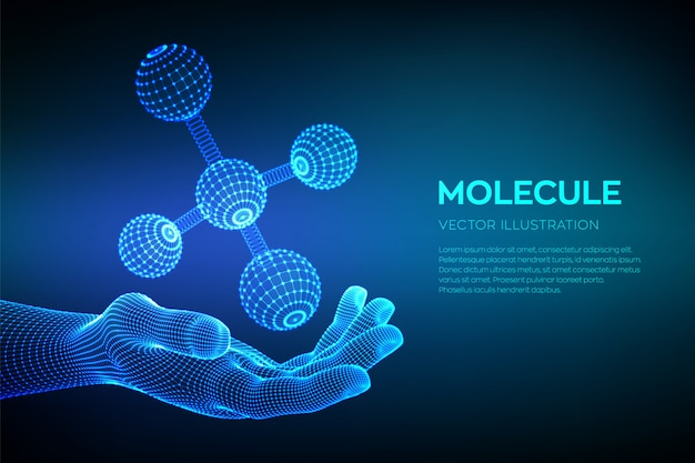 Molecuul in de hand. dna, atoom, neuronen. moleculen en chemische formules. Premium Vector