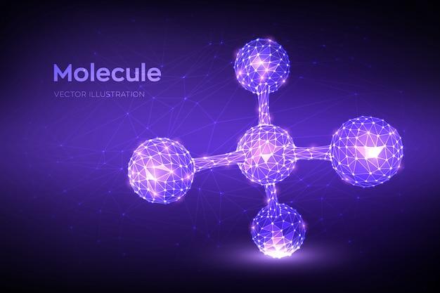 Molecuul-structuur. laag veelhoekig abstract molecuul. dna, atoom, neuronen. Premium Vector