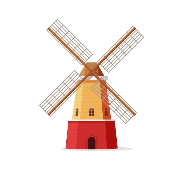 Molen of windmolen vectorillustratie in vlakke geïsoleerde stijl Premium Vector