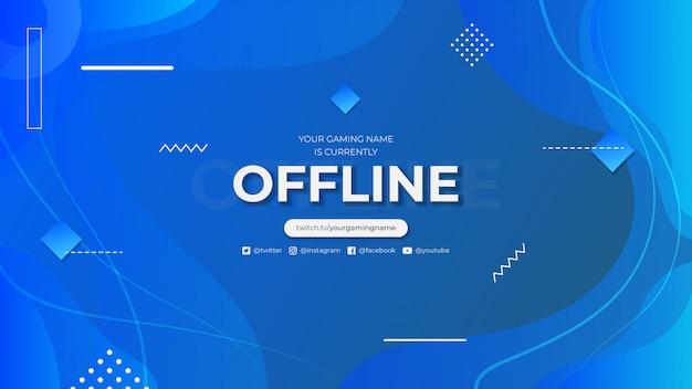 Momenteel offline twitch banner met abstracte achtergrond met kleurovergang Premium Vector