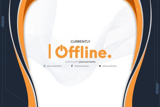 Momenteel offline twitch-banner met abstracte oranje vormen Gratis Vector