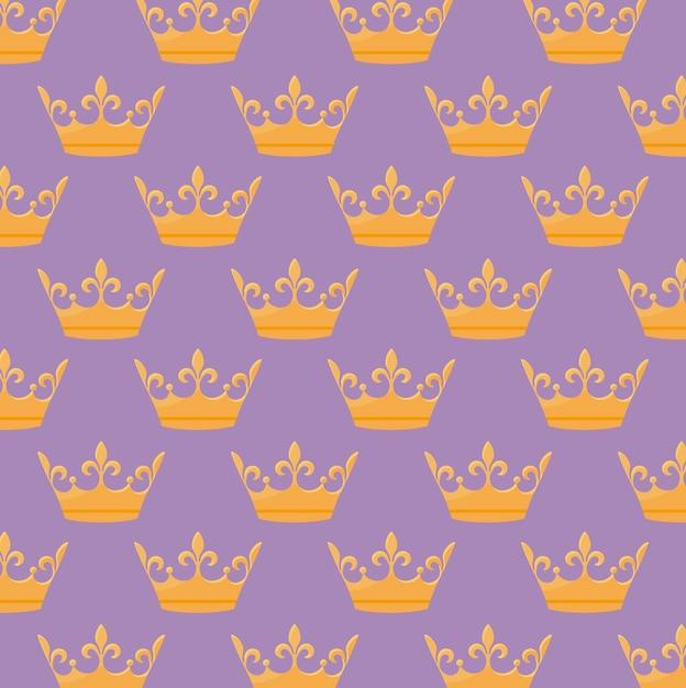 Monarchische kroon pictogram patroon Gratis Vector