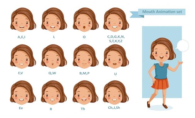 Mond meisje animatie. lip sync collectie voor animatie. Premium Vector