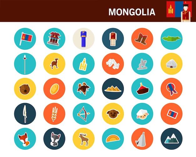 Mongolië concept plat pictogrammen Premium Vector