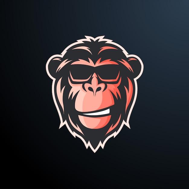 Monkey cool glasses sticker Premium Vector