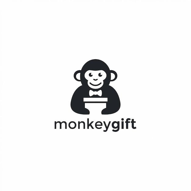 Monkey gift-logo Premium Vector