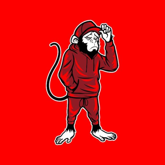 Monkey wear joggingbroek en muts Premium Vector
