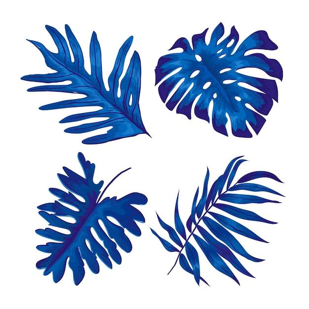 Monochromatisch tropisch bladerenontwerp Gratis Vector