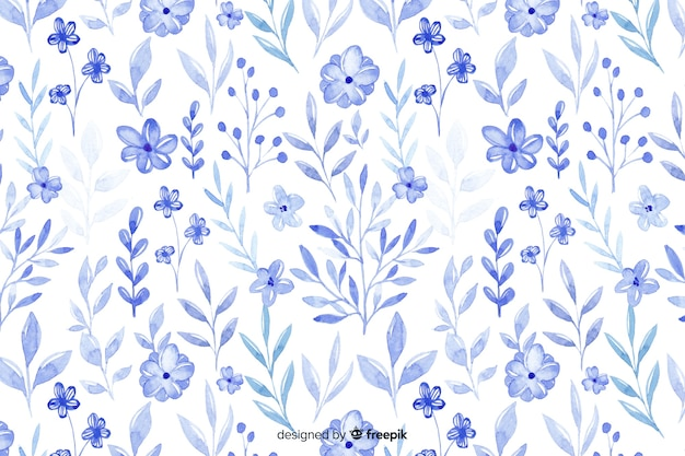 Monochromatische aquarel blauwe bloemen achtergrond Gratis Vector
