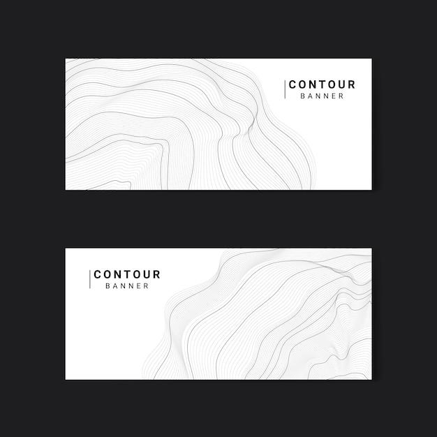 Monochrome abstracte contourlijnen instellen Gratis Vector
