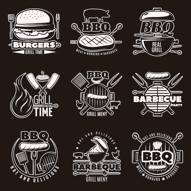 Monochrome barbecue emblemen set Gratis Vector