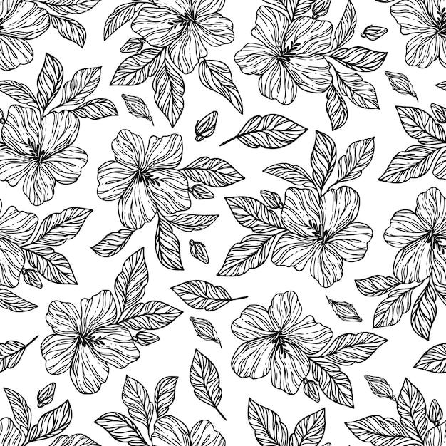 Monochrome bloemen hibiscus met bladeren hand getrokken schets Premium Vector