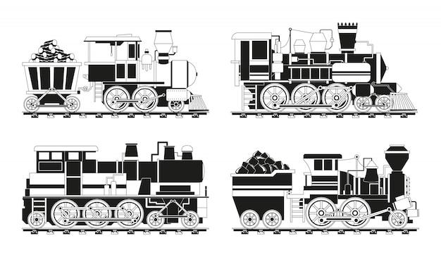 Monochrome foto's van vintage treinen Premium Vector