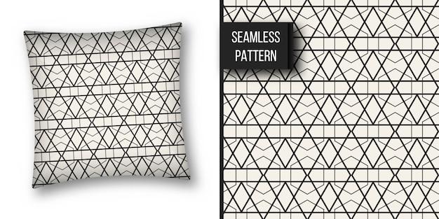 Monochrome geometrische patroon achtergrond instellen. Premium Vector