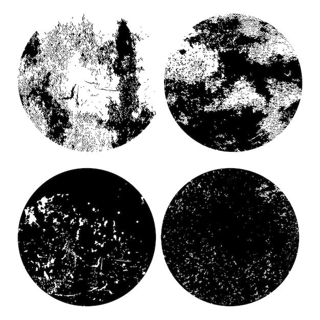 Monochrome grunge noodlijdende textuur set Gratis Vector