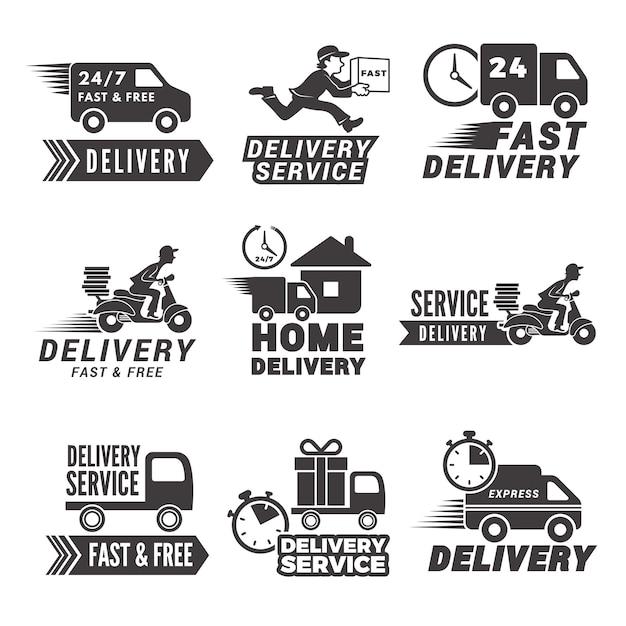Monochrome labels en pictogrammen voor bezorgservice Premium Vector