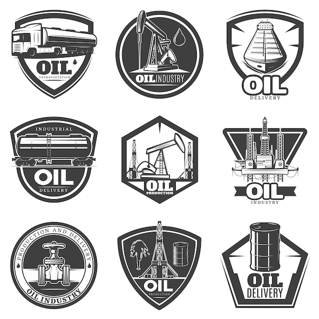 Monochrome labels voor de olie-industrie Gratis Vector