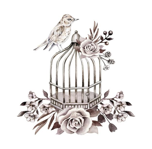 Monochrome retro compositie met vogel, kooi, bloemen Premium Vector