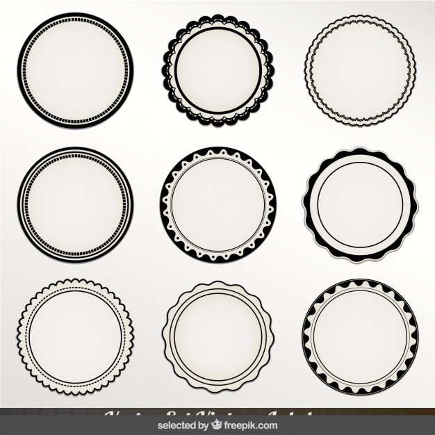 Monochrome ronde labels Gratis Vector