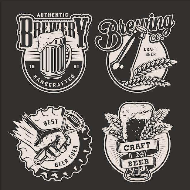 Monochrome vintage brouwerij badges Gratis Vector