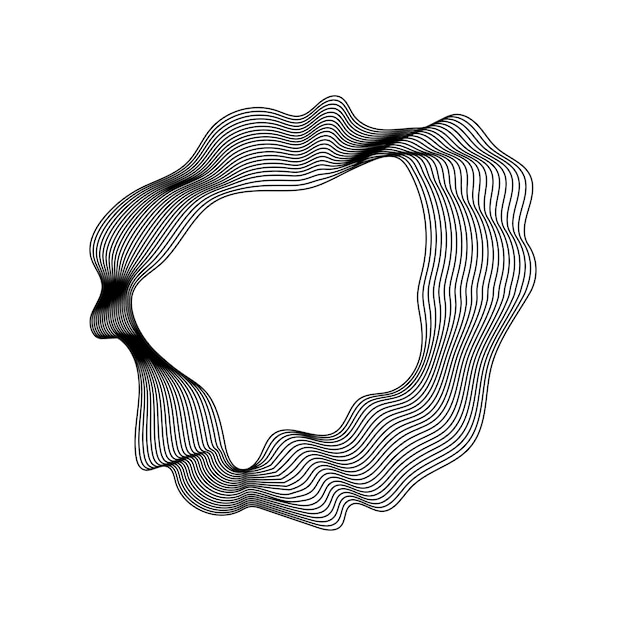Monochroom abstracte contour lijnen collectie Gratis Vector