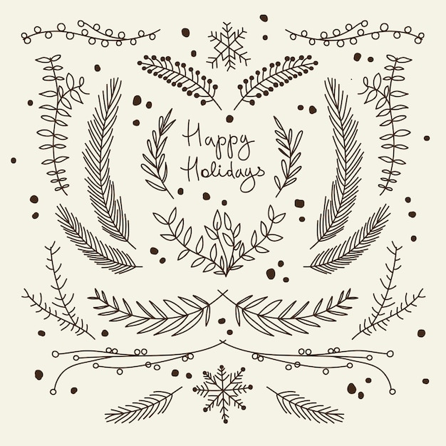 Monochroom kerst wenskaart met takken Gratis Vector