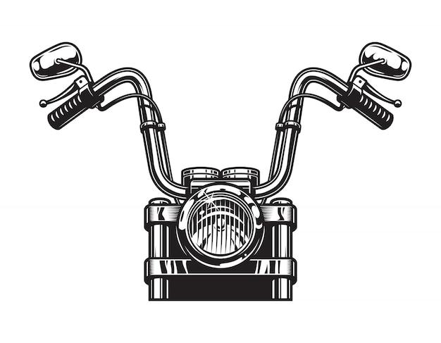 Monochroom klassieke motorfiets vooraanzicht concept Gratis Vector