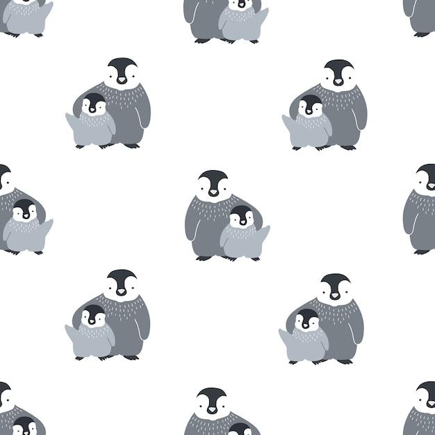 Monochroom naadloze patroon met schattige paar omhelzende moeder en baby pinguïns. Premium Vector