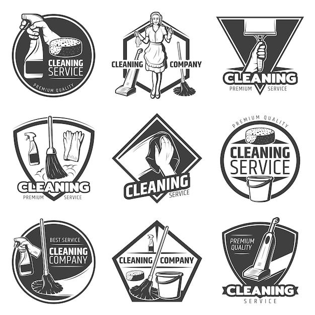 Monochroom schoonmaak service-logo Gratis Vector