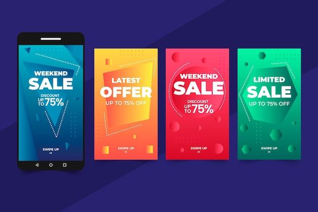 Monochroom verloop verkoop instagram-verhalen Gratis Vector