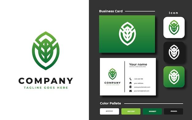 Monogram blad logo sjabloon Premium Vector