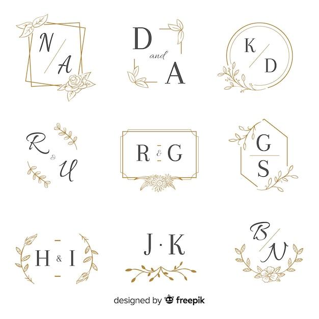 Monogram bruiloft collectie sjabloon Gratis Vector