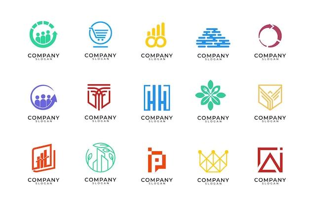 Monogram en moderne logo-ontwerpcollectie Premium Vector